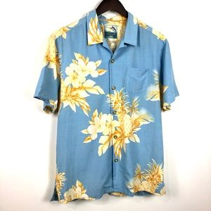 Tommy Bahama Sz M Blue Button-Down Silk Shirt